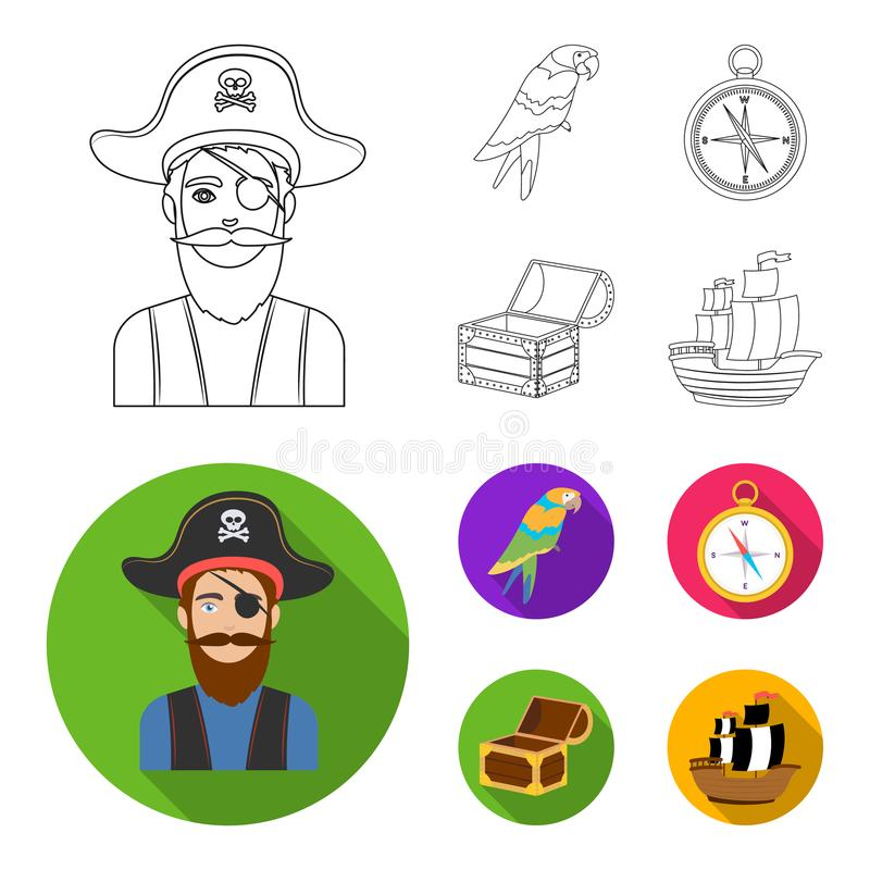 Pirata, bandido, sombrero, vendaje Los piratas fijaron iconos de la colección en el esquema, web plano del ejemplo de la acción d ilustración del vector