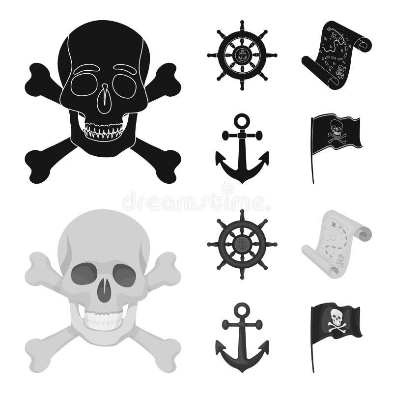 Pirata, bandido, timón, bandera E stock de ilustración