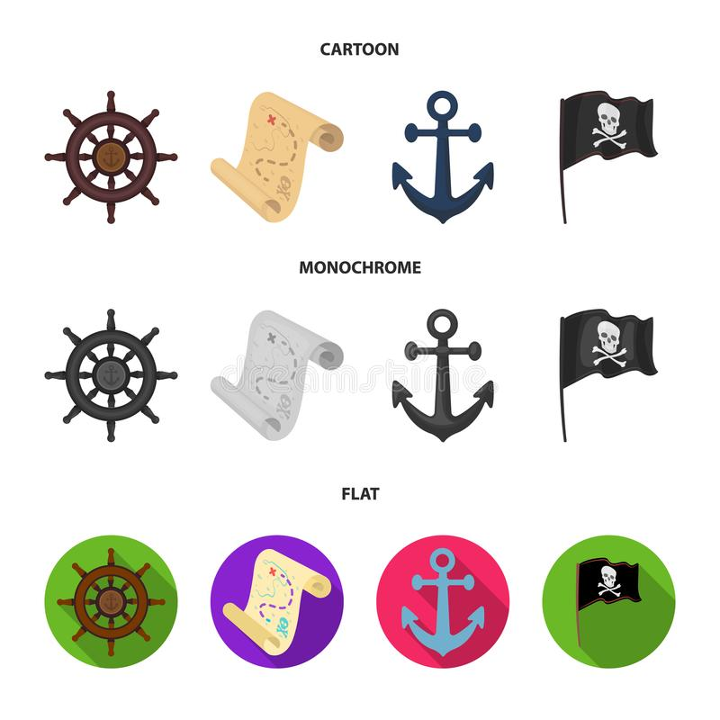 Pirata, bandido, timón, bandera Los piratas fijaron iconos de la colección en la historieta, acción plana, monocromática del símb stock de ilustración
