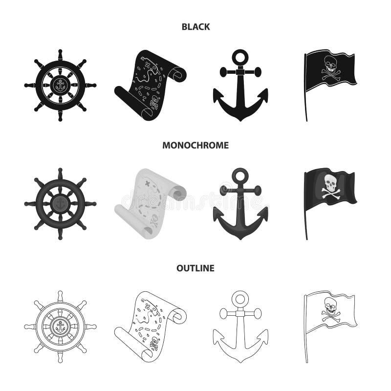 Pirata, bandido, timón, bandera Los piratas fijaron iconos de la colección en negro, monocromático, acción del símbolo del vector ilustración del vector