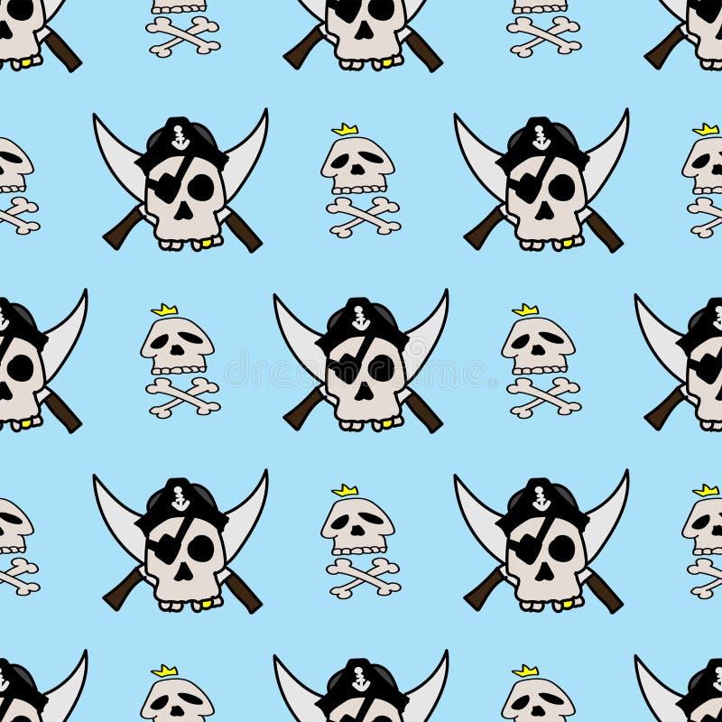 Pirata bezszwowy wzór rysujący ręcznie Śmieszny druk z czaszkami i kościami ilustracja wektor