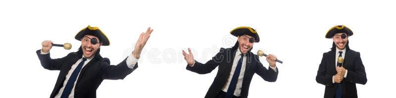 Pirata biznesmen trzyma mikrofon odizolowywający na bielu zdjęcia stock