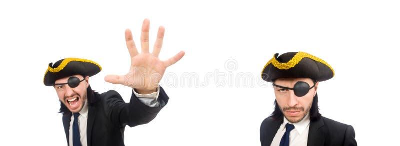 Pirata biznesmena krzycze? odizolowywam na bielu fotografia stock