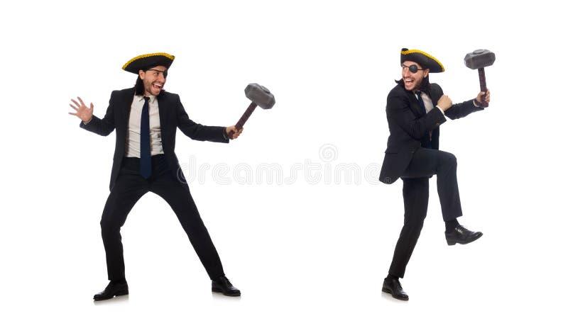 Pirata biznesmena mienia m?ot odizolowywaj?cy na bielu zdjęcie royalty free