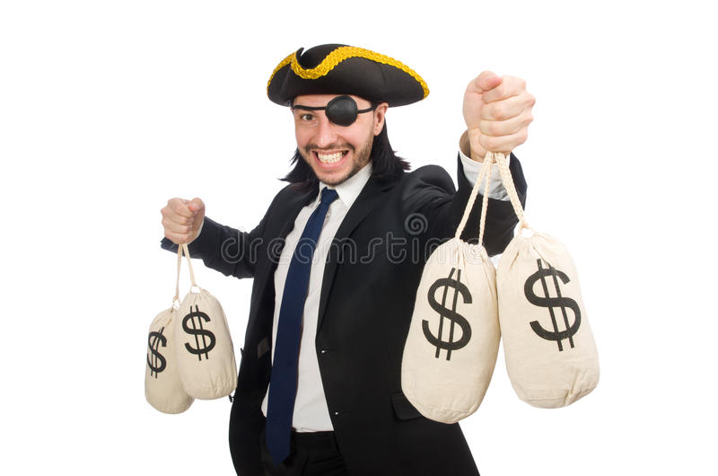 Pirata biznesmena mienia pieniądze torby odizolowywać na bielu fotografia royalty free