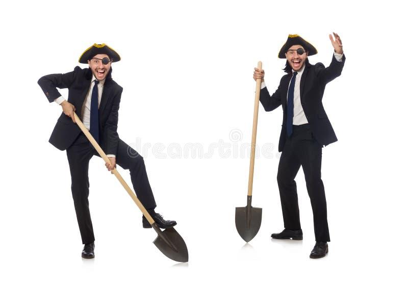 Pirata biznesmena mienia rydel odizolowywaj?cy na bielu fotografia stock