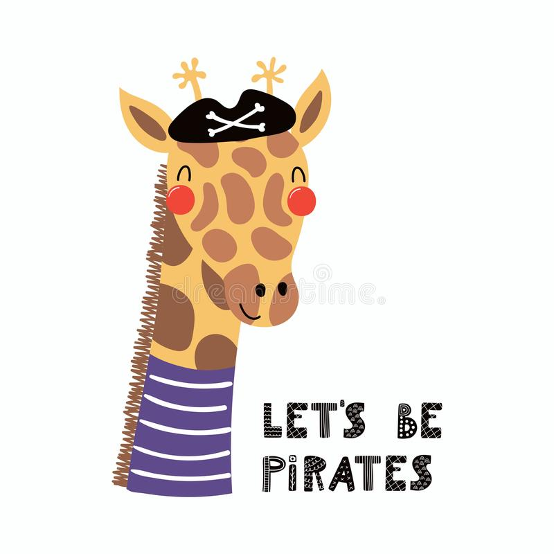 Pirata bonito do girafa ilustração royalty free