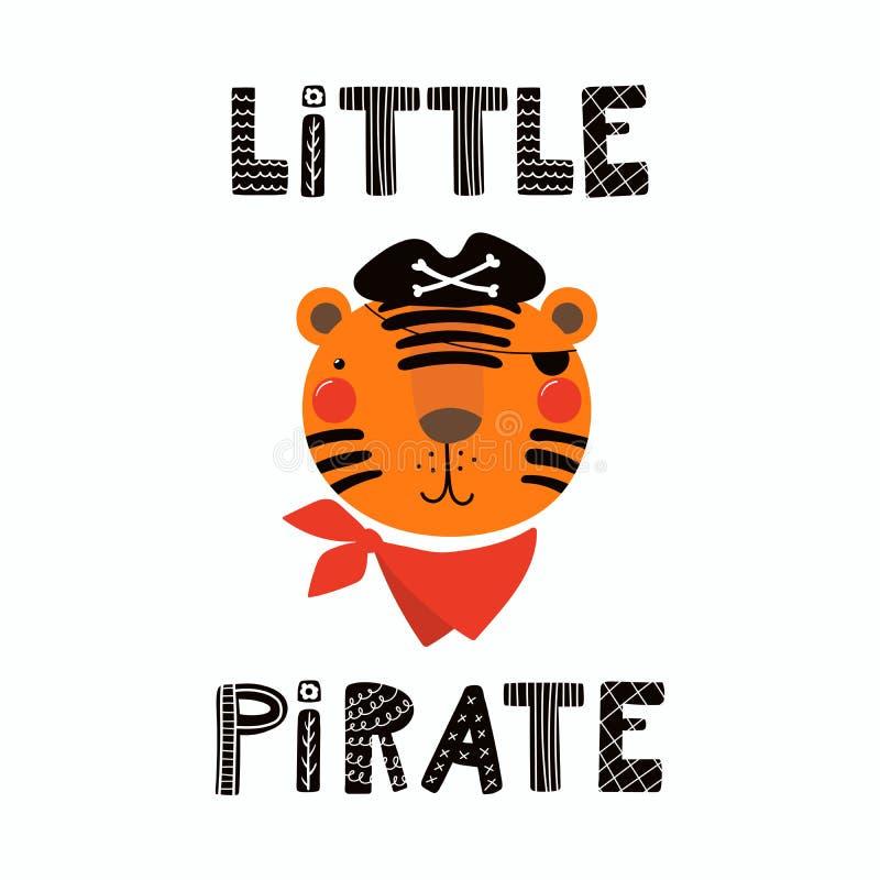 Pirata bonito do tigre ilustração do vetor