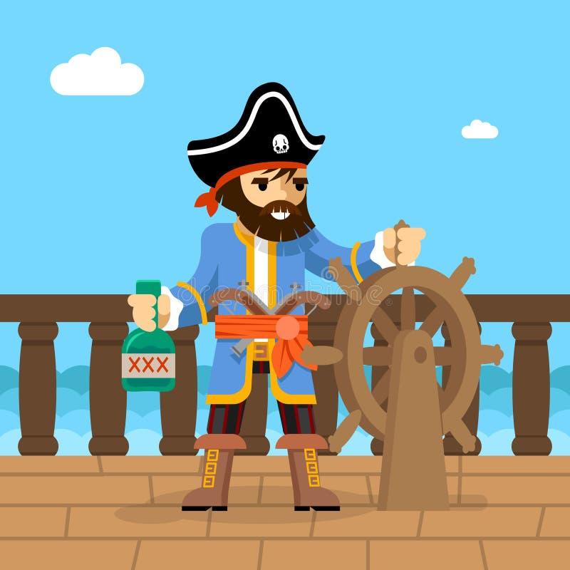 pirata Capitão do obstrucionismo no leme do navio ilustração do vetor
