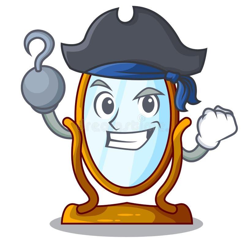 Pirata charakteru duży lustro w pięknej ramie ilustracji