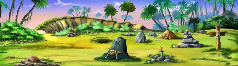 Pirata cmentarz na pirat wyspie panorama royalty ilustracja