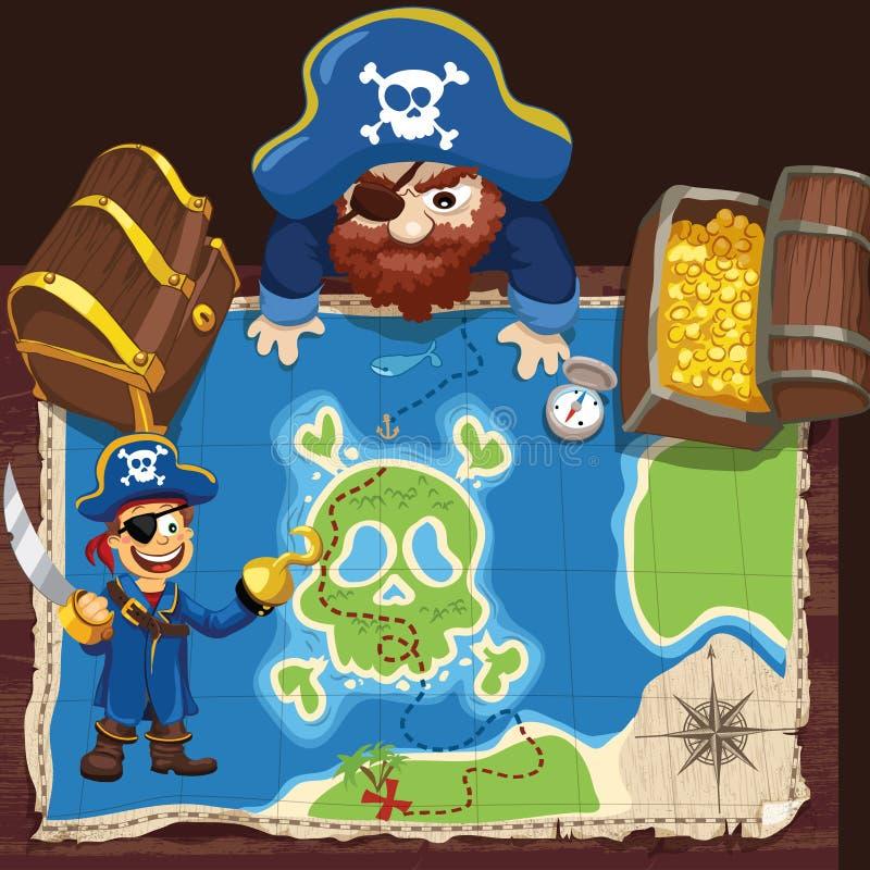 Pirata com mapa ilustração do vetor