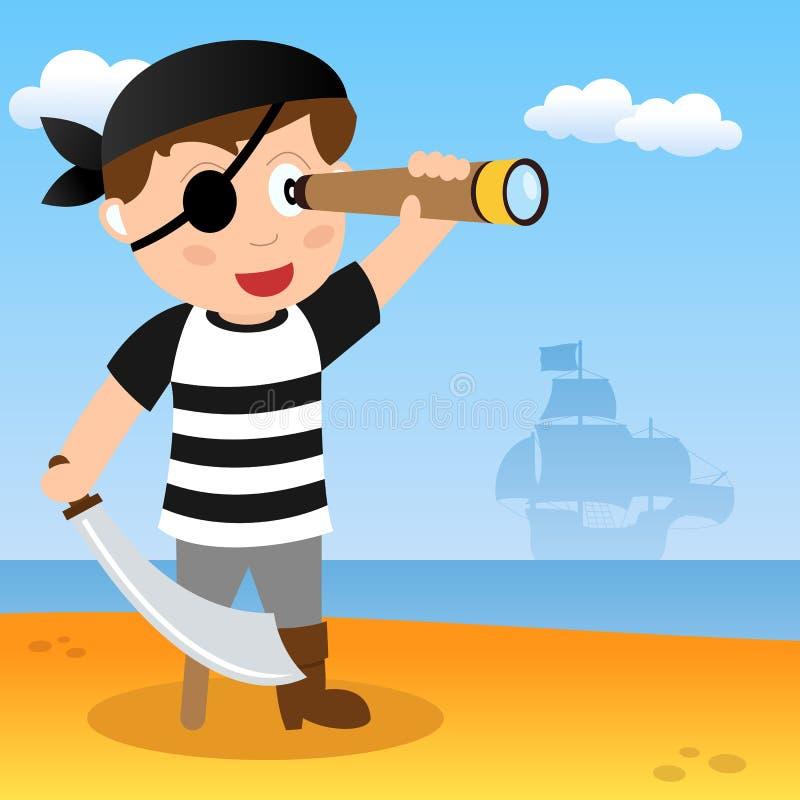 Pirata com telescópio pequeno em uma praia ilustração stock
