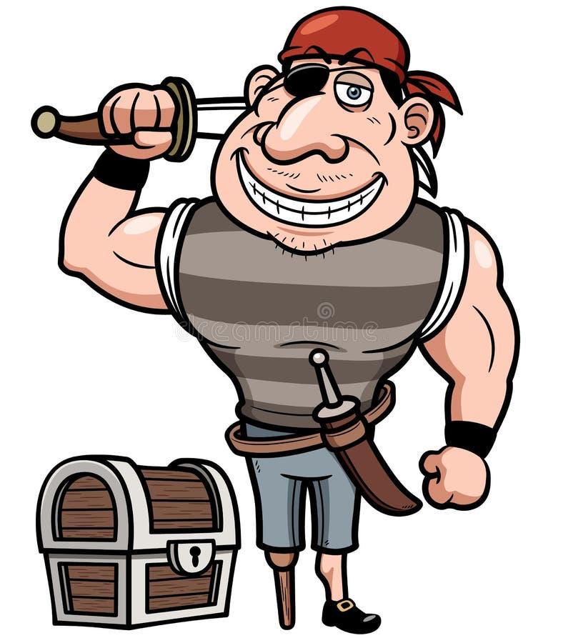 Pirata con el cofre del tesoro viejo libre illustration