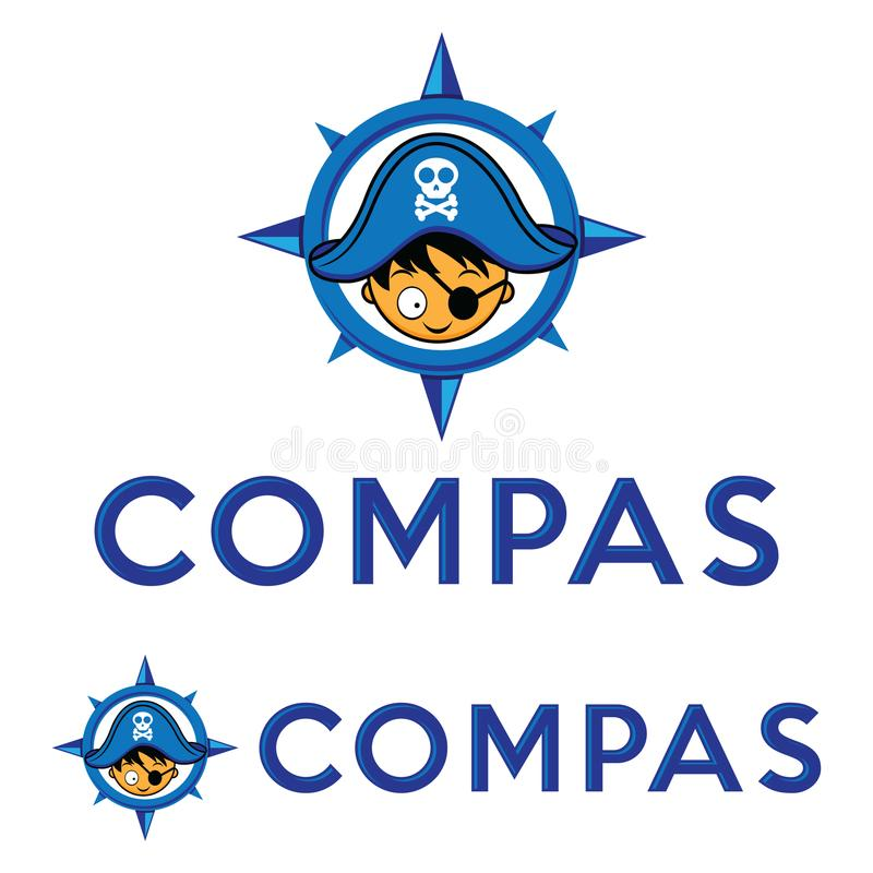 Pirata con el compás, vector del logotipo del sombrero del capitán del pirata fotos de archivo libres de regalías