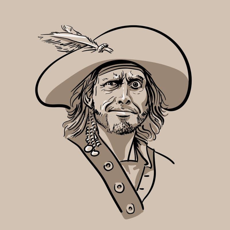 Pirata con el sombrero Retrato Vector del dibujo de la mano del bosquejo de Digitaces ilustración del vector