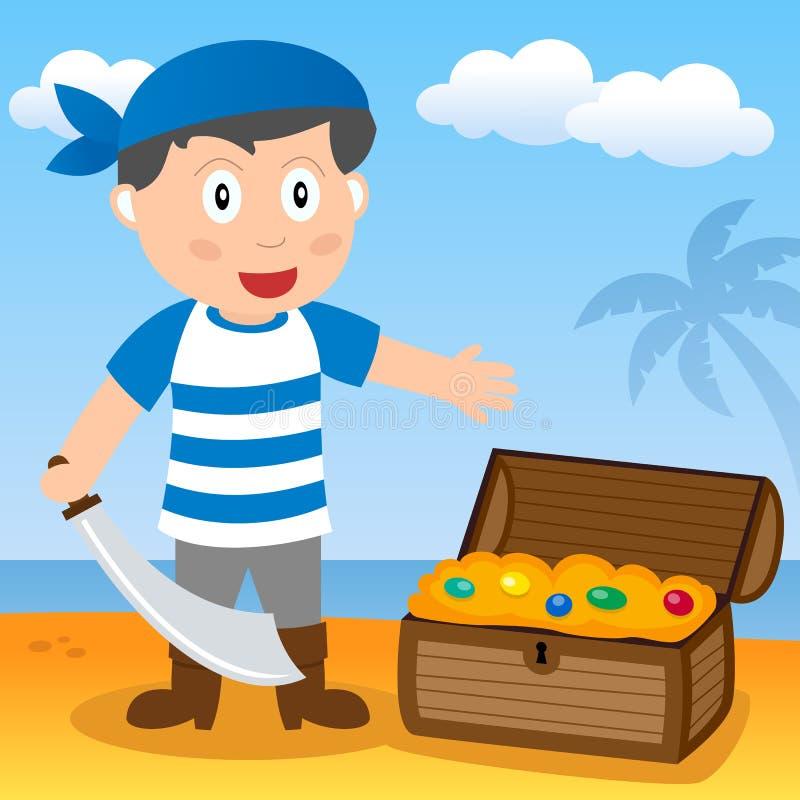 Pirata con el tesoro en una playa ilustración del vector