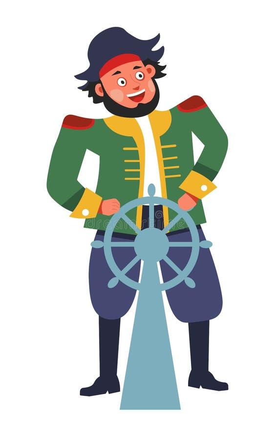 Pirata con el volante o el carácter masculino aislado timón ilustración del vector