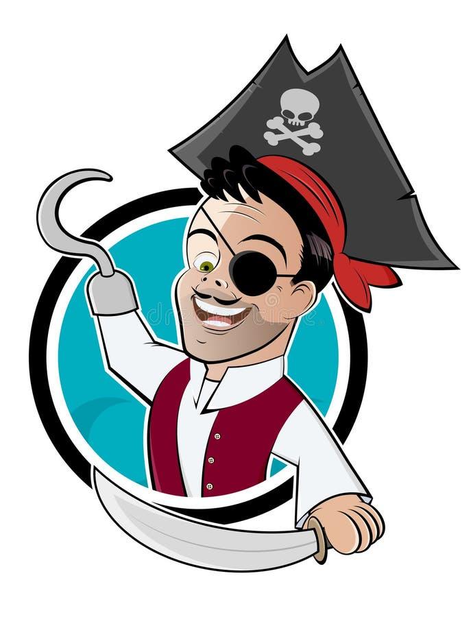 Pirata con il fumetto dell'amo illustrazione vettoriale