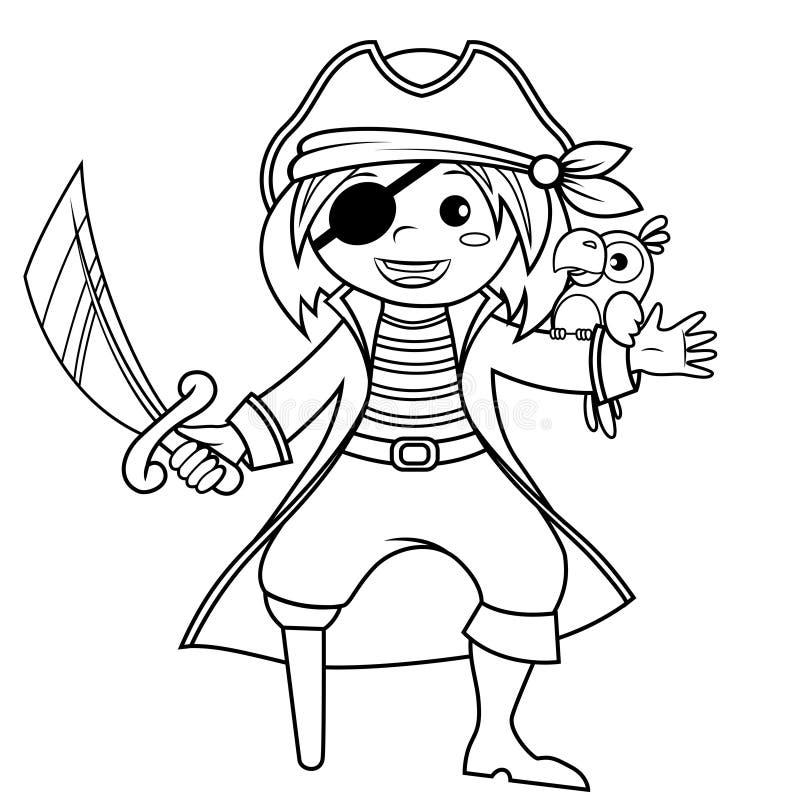 Pirata con il pappagallo illustrazione in bianco e nero di - Pirata immagini da colorare i pirati ...