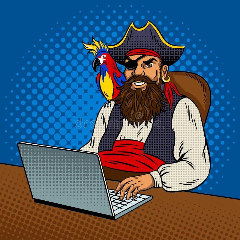 Pirata con l'illustrazione di vettore di Pop art del computer portatile royalty illustrazione gratis
