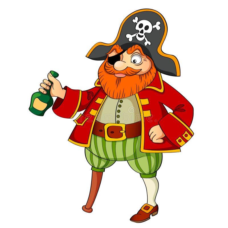 Pirata con la bottiglia di rum illustrazione di stock