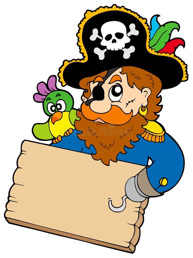 Pirata con la tabella della holding del pappagallo illustrazione di stock