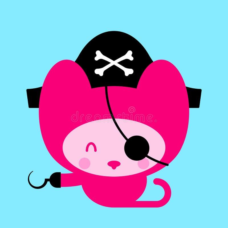 Pirata cor-de-rosa bonito do gato ilustração do vetor