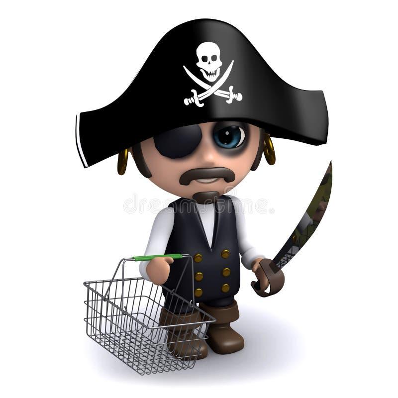 pirata 3d con una cesta de compras vacía libre illustration