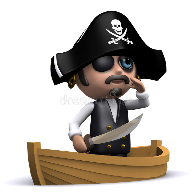 ¡pirata 3d en un bote ahoy! stock de ilustración