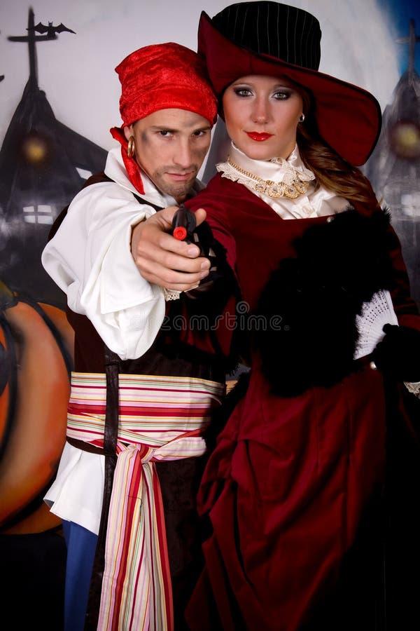 Pirata da senhora de Halloween foto de stock royalty free