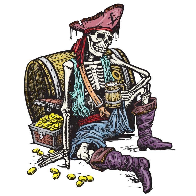 Pirata de esqueleto ilustração royalty free