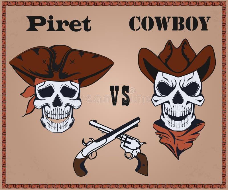 Pirata de la confrontación contra vaquero stock de ilustración