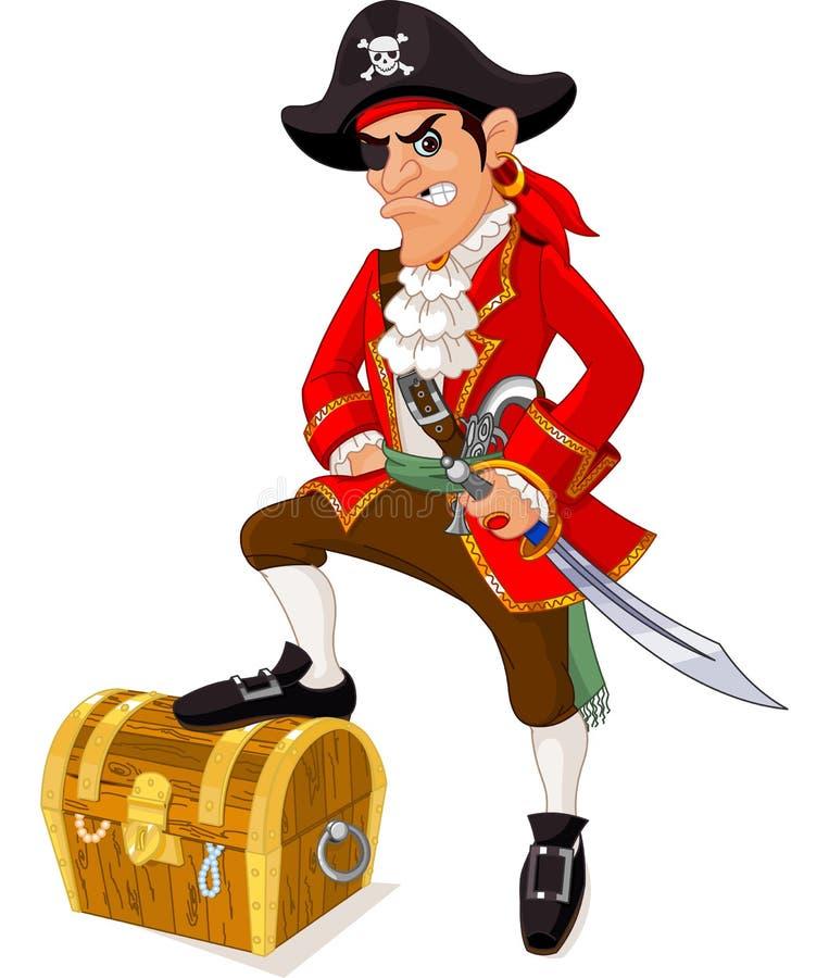 Pirata de la historieta ilustración del vector