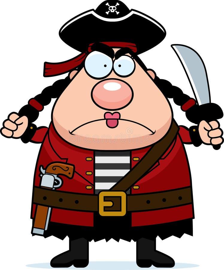Pirata de la mujer enojado ilustración del vector