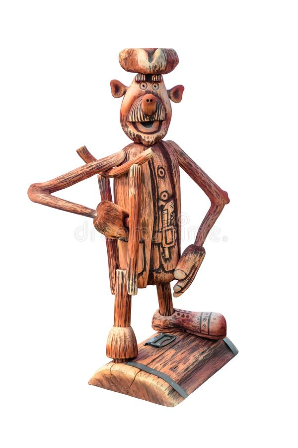 Pirata de madeira do brinquedo isolado no fundo branco foto de stock
