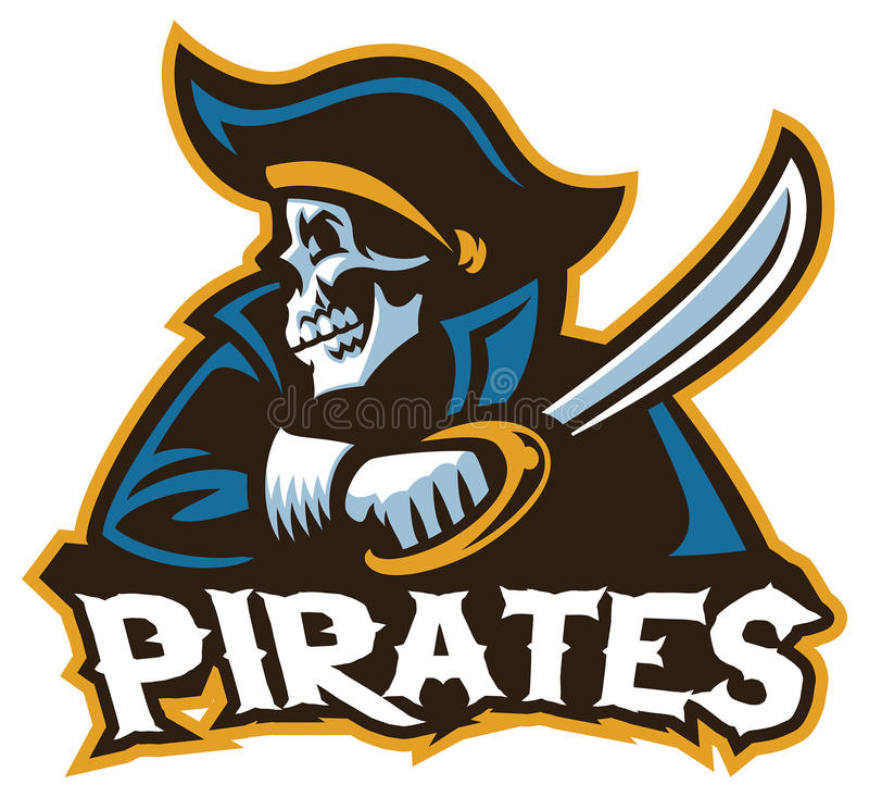 Pirata del cranio con la spada illustrazione vettoriale