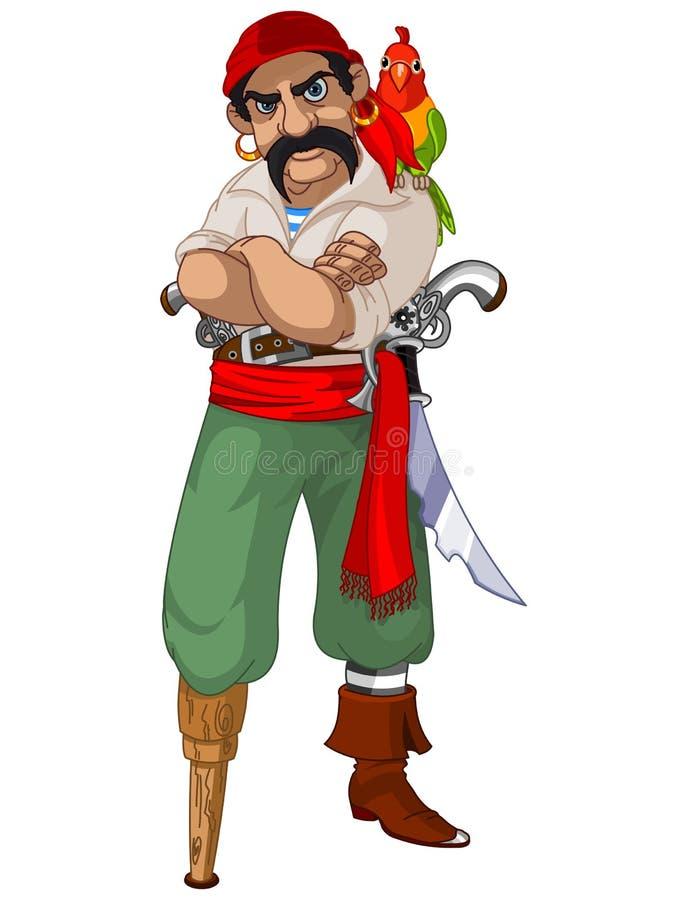 Pirata del fumetto con il pappagallo illustrazione di stock