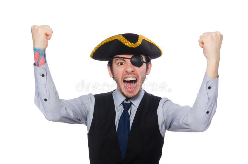 Pirata del hombre de negocios aislado en el fondo blanco imagenes de archivo