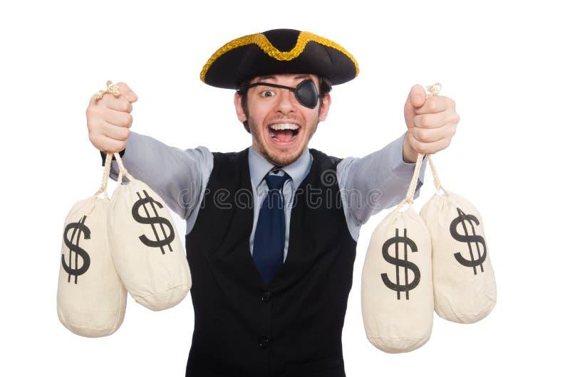 Pirata del hombre de negocios aislado en el fondo blanco fotos de archivo