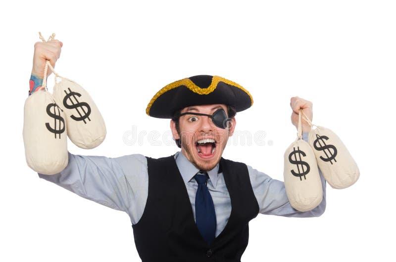 Pirata del hombre de negocios aislado en el fondo blanco imagen de archivo