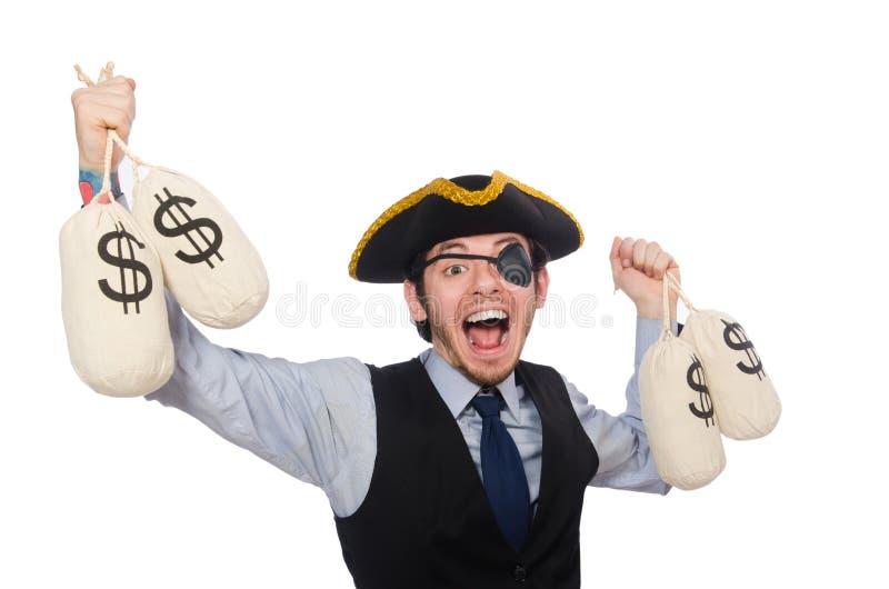 Pirata del hombre de negocios aislado en el fondo blanco fotografía de archivo libre de regalías
