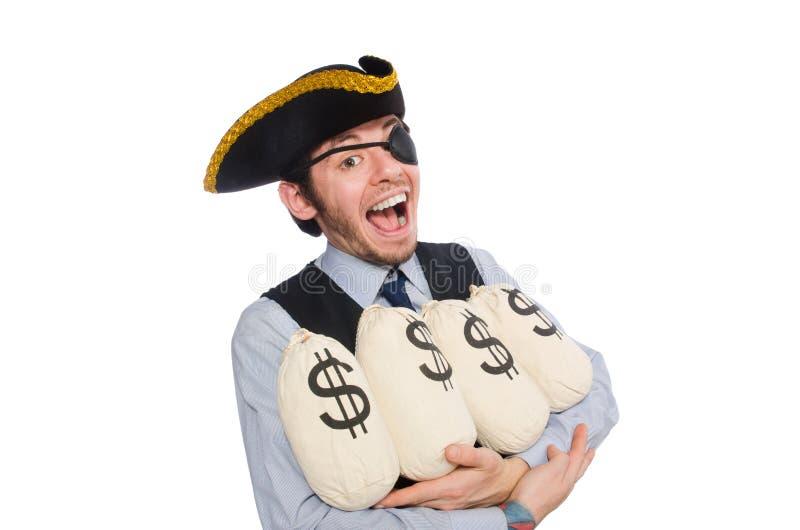 Pirata del hombre de negocios aislado en el fondo blanco fotografía de archivo