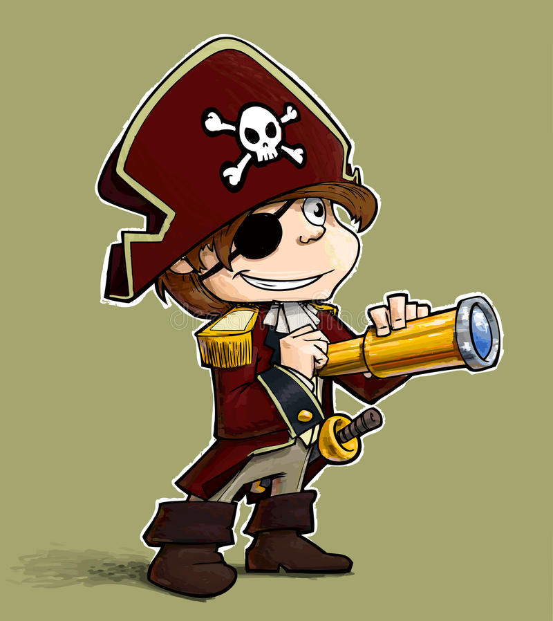 Pirata del niño pequeño. stock de ilustración
