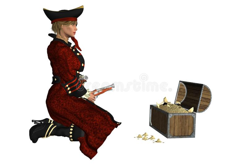 Pirata della ragazza illustrazione di stock