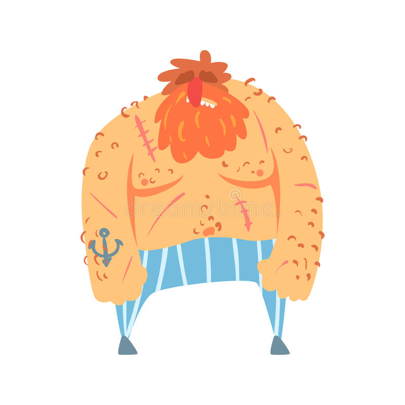 Pirata desaliñado con el tatuaje del ancla, personaje de dibujos animados de la barba roja del asesino del obstruccionismo stock de ilustración