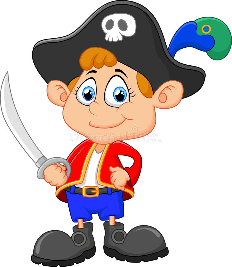 Pirata di capitano del fumetto che tiene una spada illustrazione di stock
