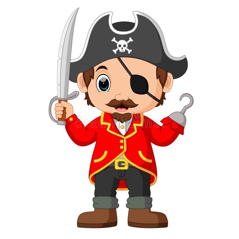 Pirata di capitano del fumetto che tiene una spada illustrazione vettoriale