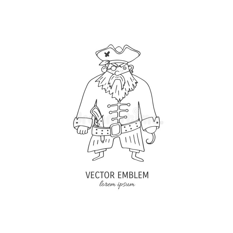 Pirata dibujado mano de la historieta libre illustration