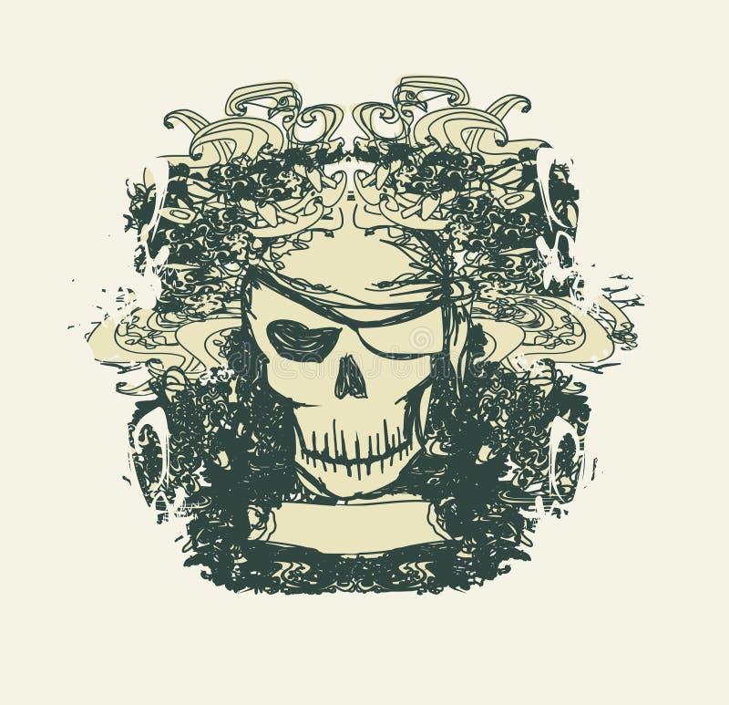 Pirata do crânio - cartão retro ilustração do vetor